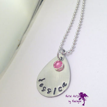 Hand Stamped Name Necklace With Swarovski Crystal Birthstone Personalize Pendant Pear HandStamped Mother's Necklace Childs Name Necklace