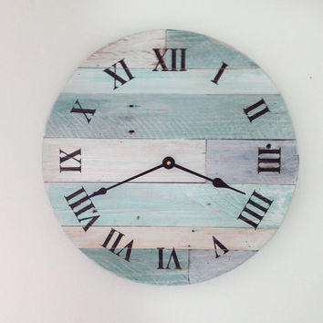 "Beach Wall Clock - 16"" wide beach wall hanging clock - rustic wall clock - Nautical Theme Clock for Beach Cottage or Coastal Decor."