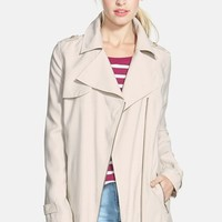 Petite Women's Halogen Asymmetrical Zip Soft Trench Coat