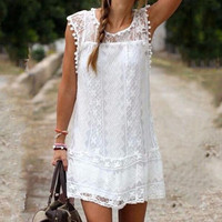 Summer Fashion Lace Dress for Women +Necklace
