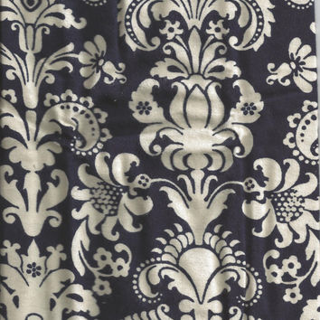 Flannel Fabric, Navy Damask white, 1/2 Yard, More Yardage Available, LAST ONE AVAILABALE