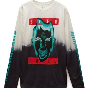 Been Trill Insurgent Long Sleeve T-Shirt - Mens Tee - White