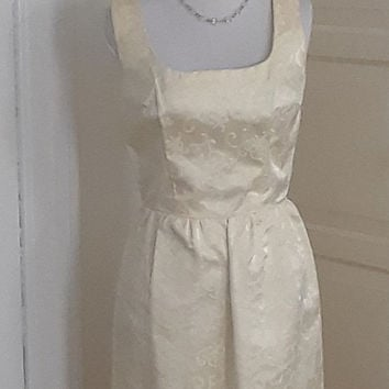 Vintage 60s Ivory White Brocade Gown, Maxi, Wedding, Party Dress, Bridal, Size S, 33B/23.5W