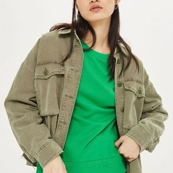 Raw Hem Crop Shacket | Topshop