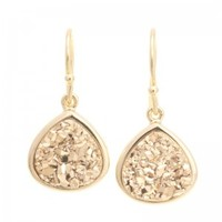 Small Drusy Teardrop - gold