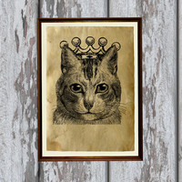 Queen cat print Old paper Antiqued decoration vintage looking 8.3 x 11.7 inches