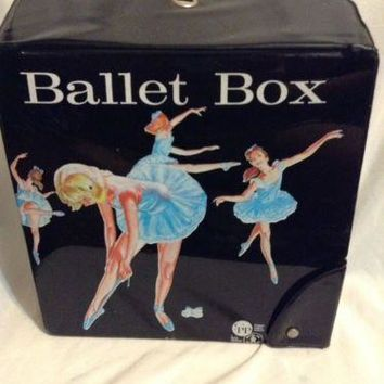 Vintage 1960s Ballet Box with strap class Dance ballerina shoes