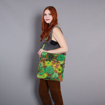 60s Bright FLORAL TRAVEL BAG / 1960s Overnighter Carry-on Laptop Messenger School Bag