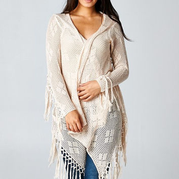 Natural Long Sleeve Knitted Cardigan w/ Fringe