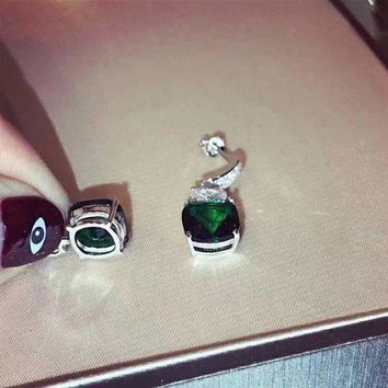 ICIKG2C 2018 New Bvlgari Green gemstone colourful brick and stone high-end fashion jewelry S925 Sterling Silver Earring cartilage hoop   stud drop
