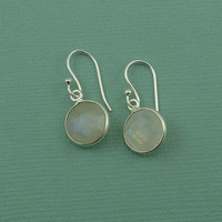 Tiny Round Moonstone Earrings - sterling silver gemstone earrings - tiny moonstone jewelry