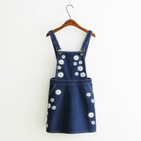 Summer Embroidery Slim Denim Dress [6332334980]