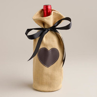 JUTE WINE BAG WITH CHALKBOARD LABEL