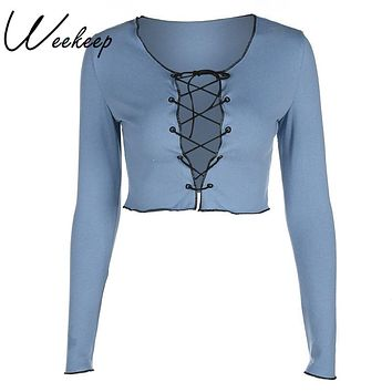 Weekeep Sexy Lace Up Hollow Out T-shirt Women Long Sleeve Cropped t shirt Fashion Slim V-neck Crop Top women cotton t shirt