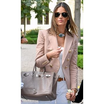 Ready To Work Beige Long Sleeve Double Breasted Gold Button Blazer Jacket Outerwear