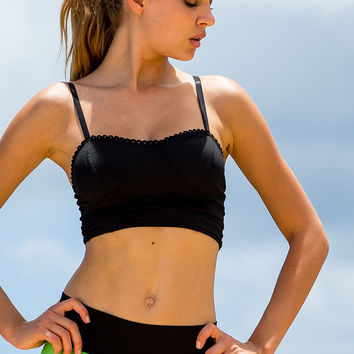 Sauvage Cropped Sport Top   Lace Yoga Top