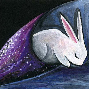 White Rabbit Art, Galaxy Print, Any Size, Hiding Place, Mental Health Depression Healing, Fibromyalgia, Starry Night, Tired Bunny Wall Print