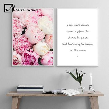 Scandinavian Flower Canvas Art Nordic Wall Painting Prints Pink Floral Poster Life Quotes Decoration Picture Modern Home Decor