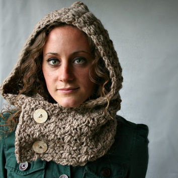 Hooded Cowl - Scoodie - Oatmeal Brown - Wooden Buttons - Vegan Hat - Hood - Cowl