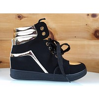 "Via Pinky Black Gold Trim 2"" Sneaker Wedge Shoe 6 - 10"