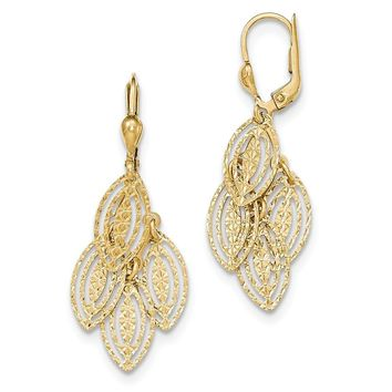 14K Yellow Gold Textured and Polished Dangle Leverback Earrings