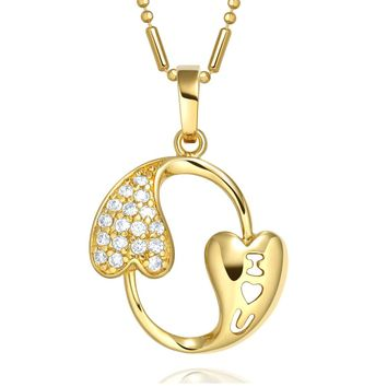 Eternity Circle I Love You Heart Powers Amulet Gold-Tone Magical Sparkling Crystals Necklace