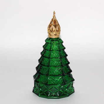Aromalytic Lamp Green Gold Christmas Tree Bottle | Xmas Oil Diffuser | Xmas Fragrance Lamp | Catalytic Burner | Effusion Lamp Gold Crown Cap
