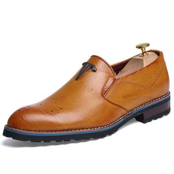 Merkmak British Style Men's Classic Oxford Leather Dress Shoes