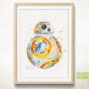 BB-8, Star Wars - Watercolor, Art Print, Wall Art, Nursery Deco, Gifts Idea, Home Decor, Watercolor Print, Star Wars Poster