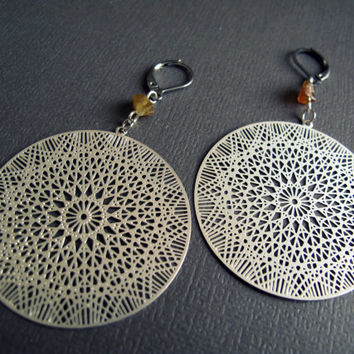 Sacred Geometry Earrings Silver Flower of Life Earrings Laser Cut Mandala Geometric Circle with Raw Garnet Crystals Metatrons Cube