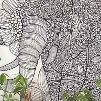 Valentina Harper Ruby The Elephant Tapestry- Black & White One