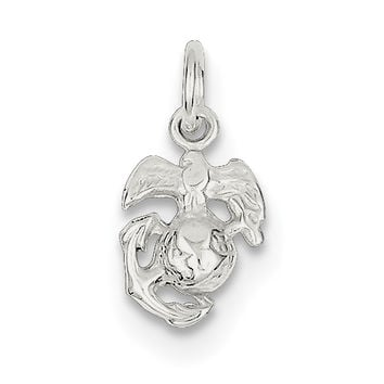 Sterling Silver Marine Corps Emblem Charm QC168