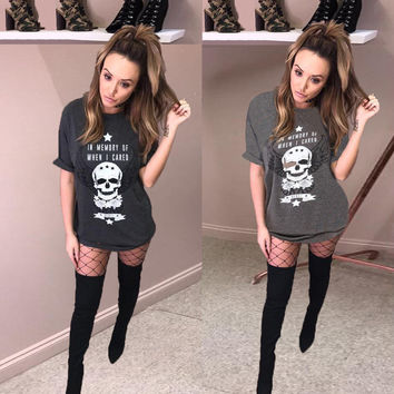 Fashion Casual Skull Head Print Short Sleeve Long T-shirt Mini Dress