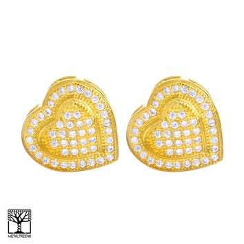Jewelry Kay style Men's Fashion Iced CZ 14K Gold Plated 3D Heart Screw Back Stud Earrings BE 026 G