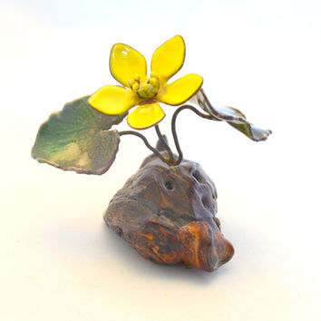 Vintage Norman Brumm Sculpture, Marsh Marigold, Wood and Metal Flower, Enamel on Copper