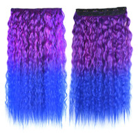 Colorful Corn Hot 5 Cards Hair Extension Wig     rose red sapphire blue