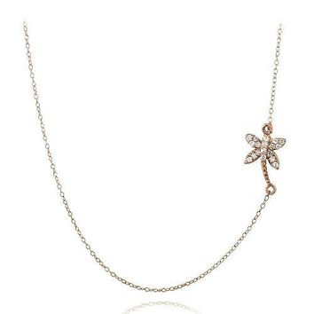 Rose Gold Tone over Sterling Silver CZ Palm Tree Chain Necklace