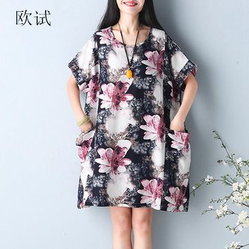 2018 New Summer Big Pocket Flowers Print Dress XXXL 4XL 5XL 6XL Plus Size Women Loose Short Sleeve Cotton and Linen Dresses