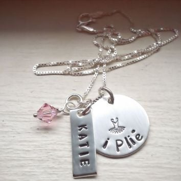 i Plie Girls Sterling Silver Hand Stamped Necklace with Birthstone