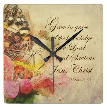 Vintage Butterfly Grow in Grace Bible Verse Square Wall Clock