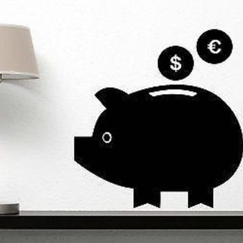 Wall Sticker Vinyl Decal Pig Piggy Bank Dollar Euro Ears Eyes Tail Unique Gift (n287)
