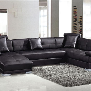 Divani Casa 3334 Ultra Modern Black Bonded Leather Sectional Sofa