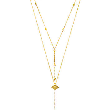 Wanderlust + Co Arya Lariat Necklace in Gold