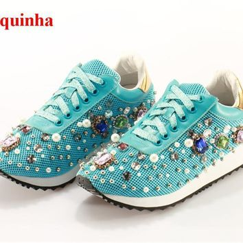Miquinha Blue Breathable Mesh Crystal Studded Beading Women Casual Shoes Pearls Lace U