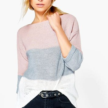 Eloise Colour Block Jumper | Boohoo