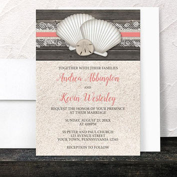 Coral Beach Wedding Invitations - Seashells Lace Rustic Wood and Sand Beach - Coral Beige Brown - Printed Invitations