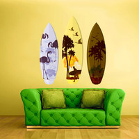 Full Color Wall Decal Mural Sticker Decor Art Beautyfull Cute Surf boards Flamingo Ocean Wave Sea Water (col303)
