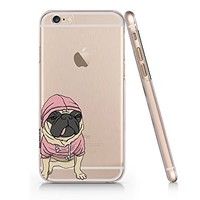 Cute Pug Dog Clear Transparent Plastic Phone Case Phone Cover for Iphone 6 6s_ SUPERTRAMPshop (iphone 6)
