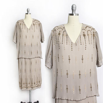 Vintage DIOR Dress - 1980s Beige Embroidered Pleated Designer Dress 80s - XL Plus Size