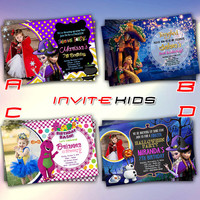Frozen and Tangled with Barney - Invitation Card - Birthday Party Kids - InviteKids